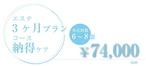 エステ3ヶ月プランコース納得ケア 来店回数6~8回¥74,000