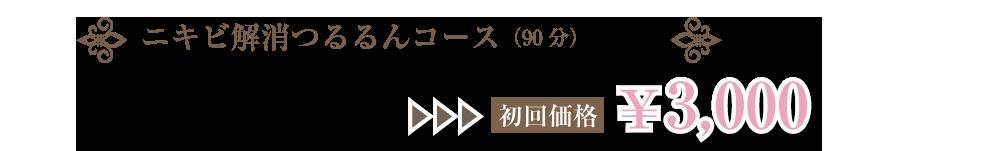 ニキビ解消つるるんコース(90分)通常¥8,500→初回価格¥3,000